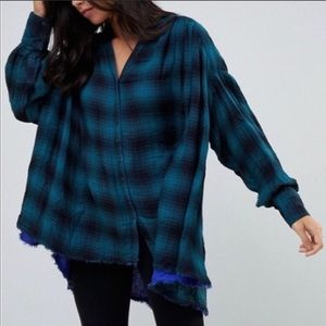 Free People Come On Over Oversized Flannel Top S